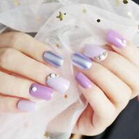 24Pc Purple Full Cover Nail Art Acrylic False Nail Tips French Design Fake Nails