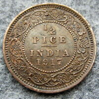 INDIA BRITISH GEORGE V 1917 1/2 PICE, slightly bent