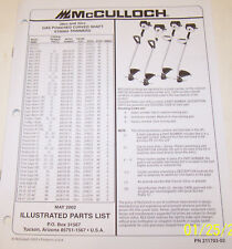 McCULLOCH TRIMMER MAC 2816, PROMAC 1 SUPER, SILVER EA OEM ILLUSTRATED PARTS LIST