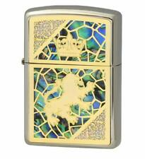Zippo Oil Lighter Gold Brass Shell Stuck Armor Base Crown White Nickel Japan F/S