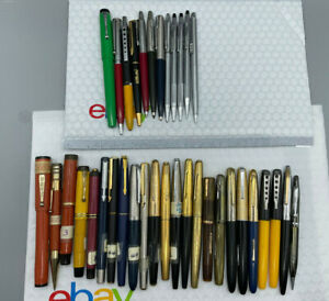 vintage 36 Fountain pen pencil  lot from estate parker watermans cross others