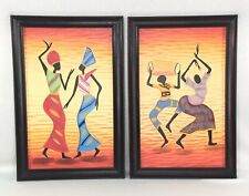 African Dancers Hand Carved Art Framed 21 x 14 Resin Wall Decor Set of 2