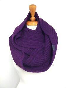 Coach 84061 Women's Cowl Infinity Legacy Aran Cable Knit Scarf Wrap Black Violet