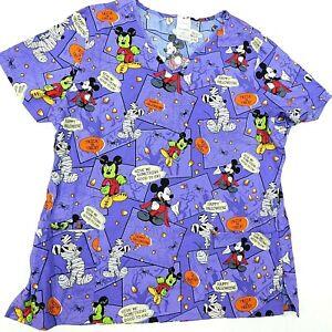 DISNEY Scrub Top Mickey Mouse Halloween Nurse Purple Nurse Medical Vet M / L