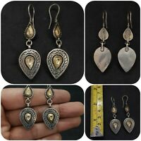 Wonderful Silver And Gold Gilded Unique Design Rare Beautiful Earring #O12