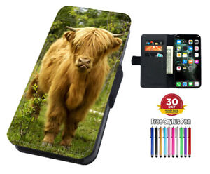 Scottish Highland Cow Flip Leather Phone Case for iPhone Samsung And Huawei