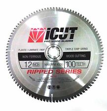 "12"" Non-Ferrous 100 Tooth Metal Cutting Carbide Saw Blade Brass Wood Plastic MDF"