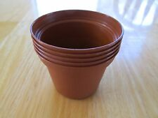 "5 NEW 3"" INCH POTS - THICK PLASTIC CLAY COLOR SMALL PLANT CACTUS FLOWER SEED"