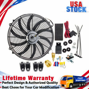 """CARBOLE 16"""" INCH ELECTRIC RADIATOR COOLING FAN 120W 3000CFM RELAY THERMOSTAT KIT"""