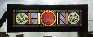 Beautiful Antique Late 1880 Colored Stained Glass Transom Window #56 Boston MASS