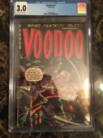 Voodoo #11 CGC 3.0 OW/W Scarce Precode Horror Skeleton Skull Cover UNPRESSED PCH