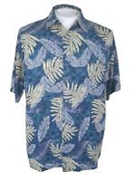 CAMPIA MODA Men Hawaiian ALOHA shirt pit to pit 22 rayon blue tropical leaf sz M