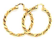 18k Gold Filled Hoop Huggie Earring Creole Twist Twisted Large Leverback Earring
