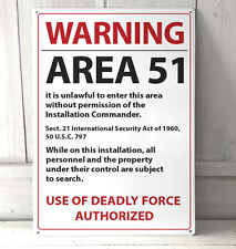 Area 51 White No Trespassing Roswell Warning sign A4 metal plaque pubs