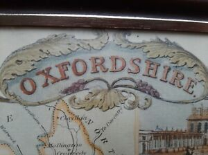 County of Oxfordshire antique map colour  print. Framed with colour etchings
