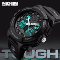 SKMEI Mens Dual Time LED Military Waterproof Sports Analog Quartz Wrist Watch US
