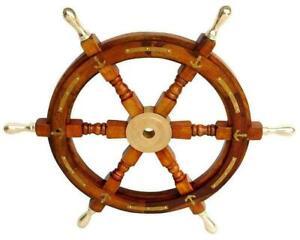 "Wooden Ship Steering Wheel 18"" Nautical Pirate Wood Brass Finishing Wall Boat"