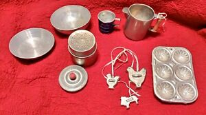 Vintage Childs Toy Aluminum Bakeware Sifter Cookie Cutters Pans Bowl Collectible