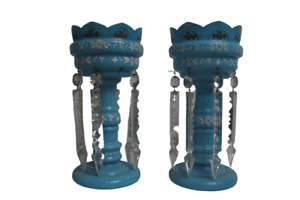 Victorian Pair turquoise Blue glass table lustres Height 28cm Antique VIntage