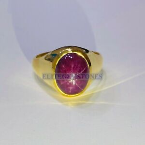 Natural Star Ruby Gemstone with Gold Plated 925 Sterling Silver Ring for Men's
