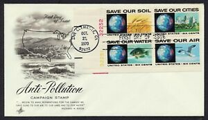#1413a 6c Anti-Pollution-Block 4 w/ Plate #s, Art Craft **ANY 4=FREE SHIPPING**