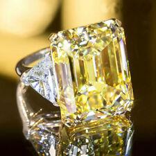 Certified 4.35CT Yellow Emerald Cut Diamond Fancy Engagement Ring 14K White Gold