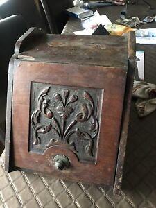 Antique Vintage Coal Scuttle NO Metal Liner Wood Kindling Sticks Fireplace