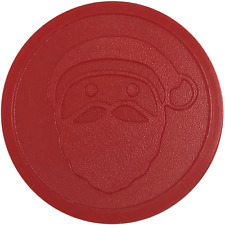 More details for santa claus embossed plastic tokens red party event school father christmas xmas