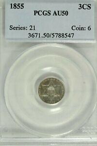 1855 Three Cent Silver : PCGS AU50