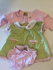 Beatrix Potter Collection Peter Rabbit 3pc Dress and Cardigan Set Green Sz 0-3M