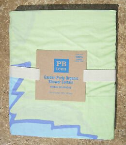 "POTTERY BARN ~ GARDEN PARTY ORGANIC SHOWER CURTAIN BLUE/GREEN ~72"" X 72""~PB TEEN"