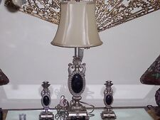 Quoizel Table Lamp & Pair Candlesticks Resin Regalia Finish Faux Marble Accents