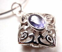 Faceted Iolite Filigree Square 925 Sterling Silver Pendant Corona Sun Jewelry