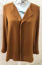 New Look Dark Mustard / Brown Long Sleeve Blouse Top Size 12