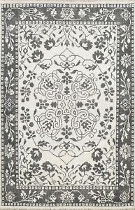 Contemporary Ivory Modern Geometric Oriental Area Rug Wool Handmade Carpet 6x8