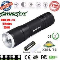 8000LM XML-T6 Zoom LED Flashlight Focus Torch Lamp 26650/18650/AAA Light Outdoor