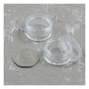 5ML EMPTY CLEAR POTS MAKE UP GLITTER CRAFTS PLASTIC SAMPLES ART STORAGE STRONG