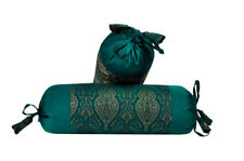 Beautiful Brocade Work Yoga Massage Round Neck Roll Ethnic Green Pillow Cushions