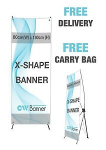 X-Banner Stand with Printed Artwork - Pop/Roll/Pull up Exhibition Display Stand