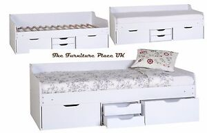 DANTE STORAGE 3FT SINGLE DAY BED FRAME IN WHITE 4 Drawers