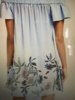 Ted Baker Size 12 Med Belriaa Illusion Print Crepe Beach Cover Up Bardot Dresss