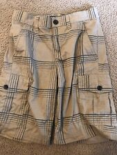 Tony Hawk Boys Cargo Shorts Tan/Black Plaid Adjustable Waistband 10