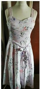 Gorgeous Joe Browns Dress Blush Pink Size 12 Fit N Flare Floral Full Skirt