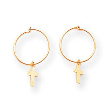 14K Yellow Gold Small Cross Endless Hoop Earrings Madi K Children's Jewelry