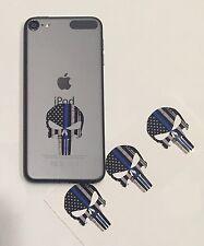 3 PUNISHER AMERICAN SNIPER BLUE LINE FLAG SKULL CELL PHONE VINYL DECAL STICKER