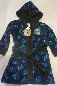 Mojang Minecraft Boys Velvet Fleece Robe Dressing Gown 3 4 5 YRS