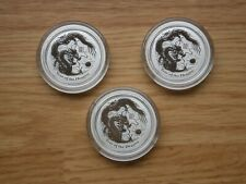 LOT OF 3 - 2012 Australian Lunar Year of the Dragon 1/2 oz Silver Coins