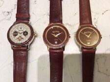 Winchester tre orologi nuovi anno 1989 quarzo laminati oro pelle uomo e donna