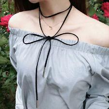 Retro Gothic Black Velvet Choker Charm Necklace Long Rope bracelet new