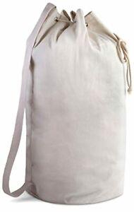 Travel Portable Laundry Canvas Duffel Bag w Draw String Closure Shoulder Strap